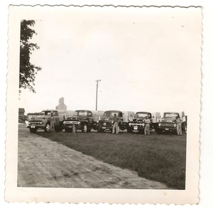 Fleet of men with cars